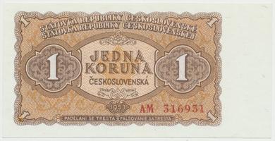 Československo, 1 Koruna 1953, tisk Moskva, série AM, Hej.98a1, BHK.86a