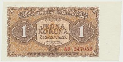 Československo, 1 Koruna 1953, tisk Moskva, série AU, Hej.98a1.S1, BHK.86a, perforace 3 m.d.