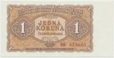 Československo, 1 Koruna 1953, tisk Moskva, série BB, Hej.98a1, BHK.86a