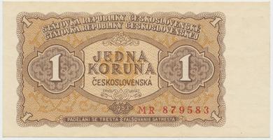 Československo, 1 Koruna 1953, tisk Praha, série MR, Hej.98b, BHK.86b