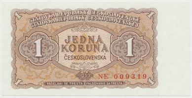 Československo, 1 Koruna 1953, tisk Praha, série NE, Hej.98b, BHK.86b