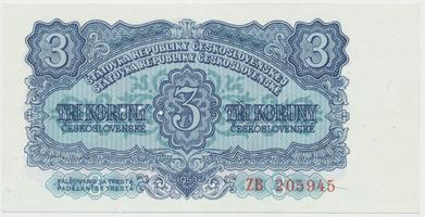 Československo, 3 Koruna 1953, tisk Moskva, náhradní série ZB, Hej.99a2.S1, BHK.87a, perforace 3 m.d.