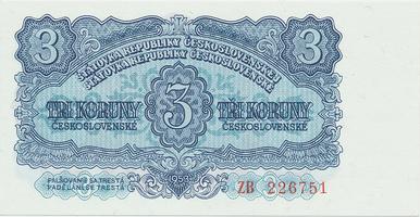 Československo, 3 Koruna 1953, tisk Moskva, náhradní série ZB, Hej.99a2, BHK.87a