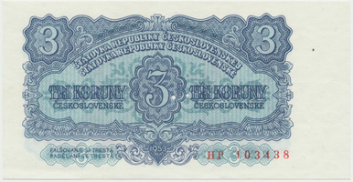 Československo, 3 Koruna 1953, tisk Praha, série HP, Hej.99b.S1, BHK.87b, perforace 3 m.d.