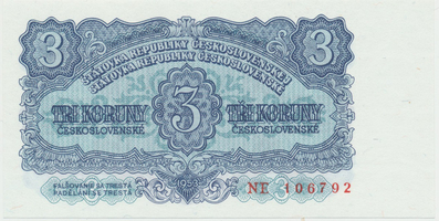Československo, 3 Koruna 1953, tisk Praha, série NE, Hej.99b, BHK.87b