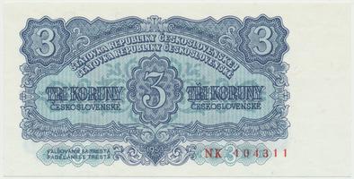 Československo, 3 Koruna 1953, tisk Praha, série NK, Hej.99b, BHK.87b