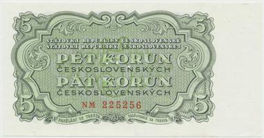 Československo, 5 Koruna 1953, tisk Praha, série NM, Hej.100b.S1, BHK.88b, perforace 3 m.d.
