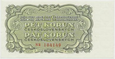 Československo, 5 Koruna 1953, tisk Praha, série NR, Hej.100b.S1, BHK.88b, perforace 3 m.d.