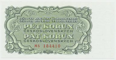 Československo, 5 Koruna 1953, tisk Praha, Hej.100b, BHK.88b