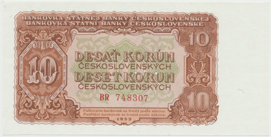 Československo, 10 Koruna 1953, tisk Moskva, série BR, Hej.101a1.S1, BHK.89a, perforace 3 m.d.