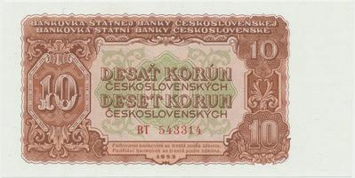 Československo, 10 Koruna 1953, tisk Moskva, série BT, Hej.101a1, BHK.89a