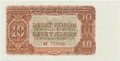 Československo, 10 Koruna 1953, tisk Moskva, série BV, Hej.101a1.S1, BHK.89a, perforace 3 m.d.