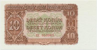 Československo, 10 Koruna 1953, tisk Moskva, série CC, Hej.101a1, BHK.89a