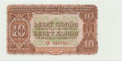 Československo, 10 Koruna 1953, tisk Moskva, série CK, Hej.101a1, BHK.89a