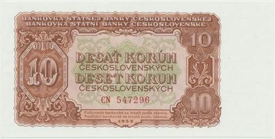 Československo, 10 Koruna 1953, tisk Moskva, série CN, Hej.101a1, BHK.89a