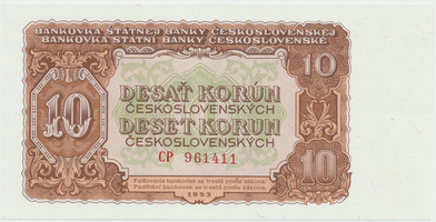 Československo, 10 Koruna 1953, tisk Moskva, série CP, Hej.101a1, BHK.89a