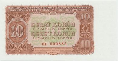 Československo, 10 Koruna 1953, tisk Praha, série HE, Hej.101b, BHK.89b