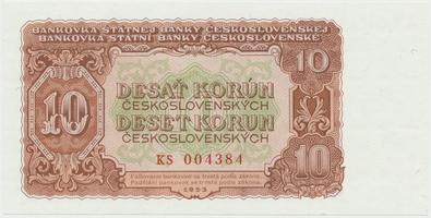 Československo, 10 Koruna 1953, tisk Praha, série KS, Hej.101b, BHK.89b