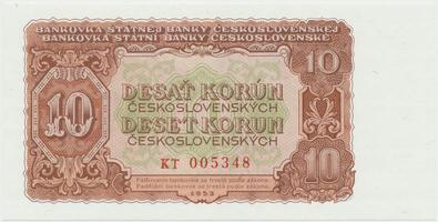 Československo, 10 Koruna 1953, tisk Praha, série KT, Hej.101b, BHK.89b