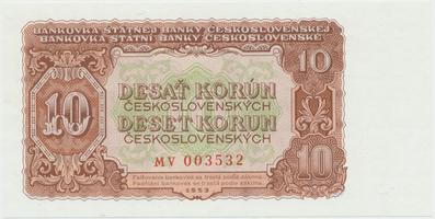 Československo, 10 Koruna 1953, tisk Praha, série MV, Hej.101b, BHK.89b