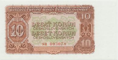 Československo, 10 Koruna 1953, tisk Praha, série NR, Hej.101b, BHK.89b