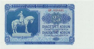 Československo, 25 Koruna 1953, tisk Moskva, série AP, Hej.102a1, BHK.90a