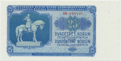 Československo, 25 Koruna 1953, tisk Moskva, série BB, Hej.102a1.S1, BHK.90a, perforace 3 m.d.