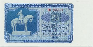 Československo, 25 Koruna 1953, tisk Moskva, série BB, Hej.102a1, BHK.90a