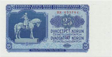 Československo, 25 Koruna 1953, tisk Praha, série HK, Hej.102b, BHK.90b