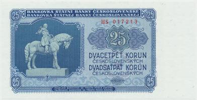 Československo, 25 Koruna 1953, tisk Praha, série HS, Hej.102b, BHK.90b