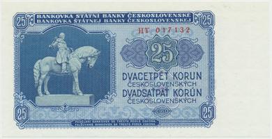 Československo, 25 Koruna 1953, tisk Praha, série HT, Hej.102b, BHK.90b
