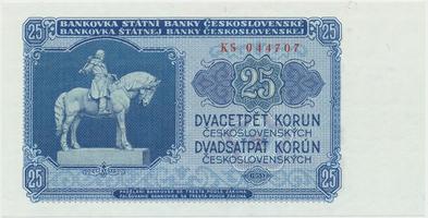 Československo, 25 Koruna 1953, tisk Praha, série KS, Hej.102b, BHK.90b