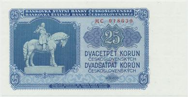 Československo, 25 Koruna 1953, tisk Praha, série MC, Hej.102b, BHK.90b