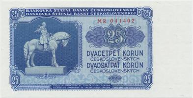 Československo, 25 Koruna 1953, tisk Praha, série MR, Hej.102b, BHK.90b