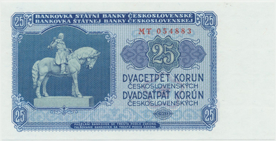 Československo, 25 Koruna 1953, tisk Praha, série MT, Hej.102b, BHK.90b