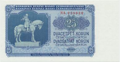 Československo, 25 Koruna 1953, tisk Praha, série NA, Hej.102b, BHK.90b