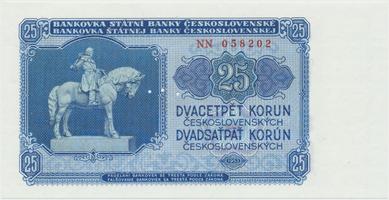 Československo, 25 Koruna 1953, tisk Praha, série NN, Hej.102b.S1, BHK.90b, perforace 3 m.d.
