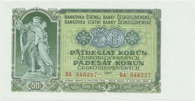 Československo, 50 Koruna 1953, tisk Moskva, série BA, Hej.103a1, BHK.91a