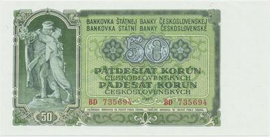 Československo, 50 Koruna 1953, tisk Moskva, série BD, Hej.103a1, BHK.91a