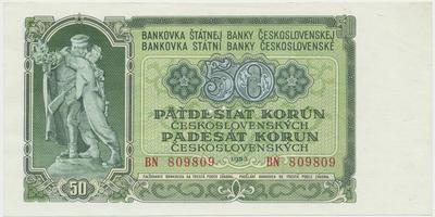 Československo, 50 Koruna 1953, tisk Moskva, série BN, Hej.103a1.S1, BHK.91a, perforace 3 m.d.