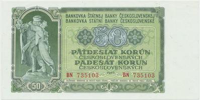 Československo, 50 Koruna 1953, tisk Moskva, série BN, Hej.103a1, BHK.91a