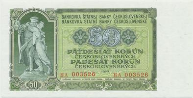 Československo, 50 Koruna 1953, tisk Praha, série HA, Hej.103b, BHK.91b