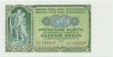 Československo, 50 Koruna 1953, tisk Praha, série KB, Hej.103b, BHK.91b