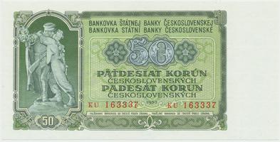 Československo, 50 Koruna 1953, tisk Praha, série KU, Hej.103b, BHK.91b
