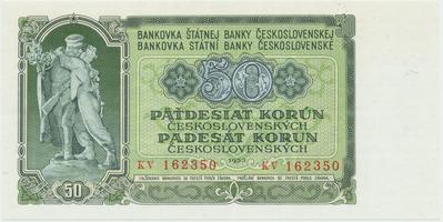 Československo, 50 Koruna 1953, tisk Praha, série KV, Hej.103b, BHK.91b