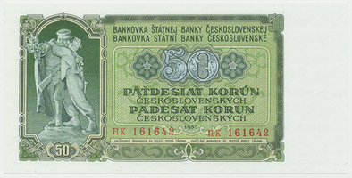 Československo, 50 Koruna 1953, tisk Praha, Hej.103b, BHK.91b