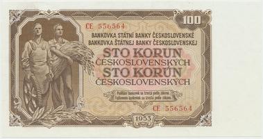 Československo, 100 Koruna 1953, tisk Moskva, série CE, Hej.104a1, BHK.92a