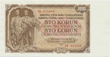 Československo, 100 Koruna 1953, tisk Moskva, série CK, Hej.104a1.S1, BHK.92a, perforace 3 m.d.
