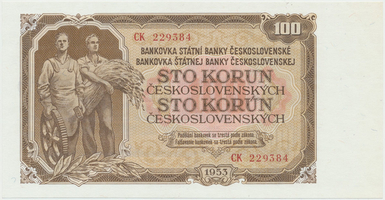 Československo, 100 Koruna 1953, tisk Moskva, série CK, Hej.104a1, BHK.92a