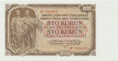 Československo, 100 Koruna 1953, tisk Moskva, série CP, Hej.104a1, BHK.92a